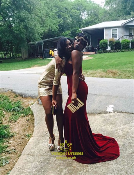Burgundy Strapless Sweetheart Mermaid Floor Length Prom Dress