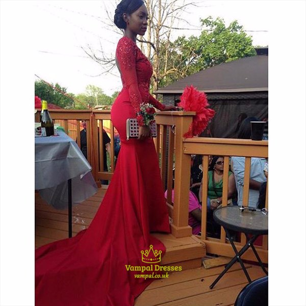 Red Lace Embellished Long Sleeve Backless Mermaid Prom Dress
