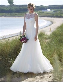 Ivory Halter Lace Embellished Top Long Tulle Wedding Dress