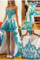 Strapless Sweetheart Lace Embellished High Low Prom Dress With Train