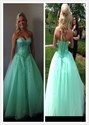 Mint Green Strapless Tulle Prom Ball Gown With Beaded Bust