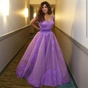 Lavender Off The Shoulder Lace Embellished Long Ball Gown Prom Dress