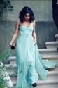 Light Blue Strapless A Line Long Chiffon Dress With Ruched Bodice