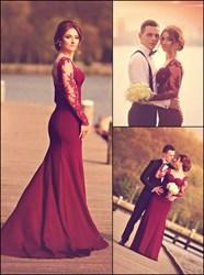 Burgundy Sweetheart Backless Sheer Long Lace Sleeve Prom Dress