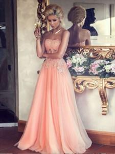 Peach Strapless Chiffon Bridal Dress With Embellished Beaded Bodice