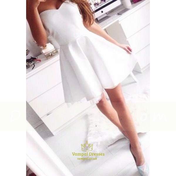 White Strapless Sweetheart Sleeveless Short Fit And Flare Party Dress