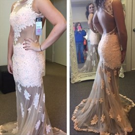 Blush Pink Lace Bodice Backless Long Prom Dress With Sheer Overlay