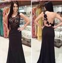 Black Sheer Lace Bodice Open Back Floor Length Sleeveless Prom Dress