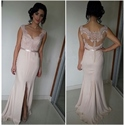 Blush Pink Sweetheart Sheer Lace Bodice Long Prom Dress With Slits