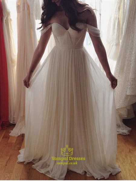 Ivory Sweetheart Neckline Off The Shoulder Long Chiffon Dress