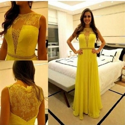 Yellow Lace Embellished V Neck A Line Long Chiffon Prom Dress