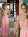 Coral High Neck Lace Beaded Top Chiffon Bottom Long Bridesmaid Dress