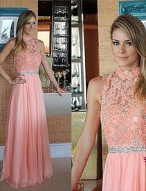 Coral High Neck Lace Beaded Top Chiffon Bottom Long Bridesmaid Dress