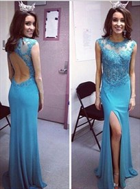 Sky Blue Sheer Beaded Side Slit Long Prom Dress With Lace Applique