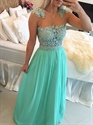 Turquoise Long Chiffon Prom Dress With Sheer Beaded Lace Bodice