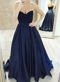 Navy Blue Sweetheart Strapless Beaded Bodice Long Prom Dress