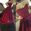Burgundy Strapless Sweetheart Lace Bodice Ball Gown Prom Dresses