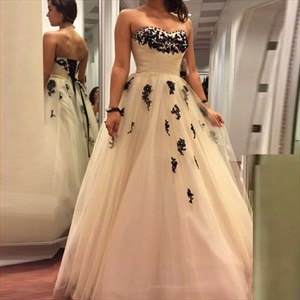White Strapless Black Lace Applique Ball Gown Wedding Dress