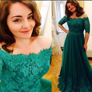 Green Off-The-Shoulder Short-Sleeve Lace-Bodice Corset Prom Gown