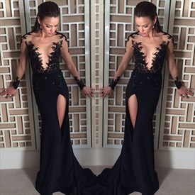 Black V Neck Sheer Lace Embellished Evening Prom Dress With Side Slit