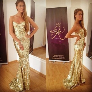 Strapless Sweetheart Long Gold Sequin Mermaid Bridesmaid Dresses