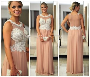 Peach Illusion Bodice Backless Beaded Long Chiffon Evening Gown