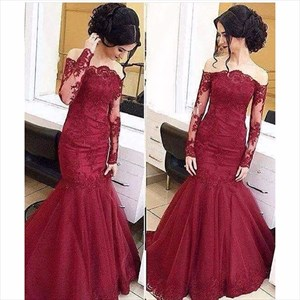 Burgundy Lace Embellished Mermaid Prom Dresses With Sheer Long Sleeve