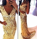 V Neck Gold Sequin Sheath Floor Length Bridesmaid Dress