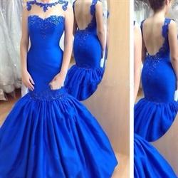 Royal Blue Sheer Neck Lace Embellished Backless Mermaid Prom Dress