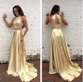 Gold Sequin Bodice Two Tone Halter Cutout Back Long Maxi Dress
