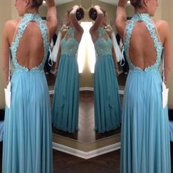 Sky Blue High Neck Beaded Lace Bodice A-Line Chiffon Prom Dress