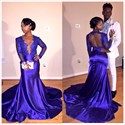 Blue Lace Embellished Mermaid Prom Dress With Sheer Long Sleeves