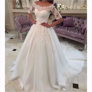 Ivory Off The Shoulder Lace Sleeve Embellished Ball Gown Wedding Dress