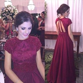 Burgundy Beaded Bodice Backless Cap Sleeve Long Chiffon Prom Dress
