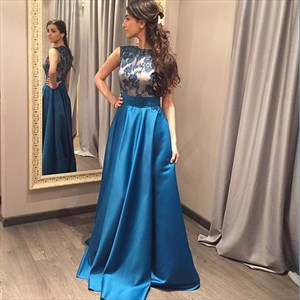 Teal Floor Length Prom Dress With Sheer Lace Embellished Bodice