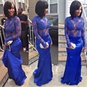Royal Blue Sheer Illusion Lace Bodice Long Sleeve Mermaid Prom Gown
