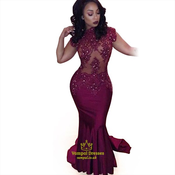 Burgundy Long Beaded Lace Embellished High Neck Long Mermaid Gown