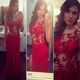 Red Sheer Lace Embellished Bodice Prom Dress With Side Cut Out