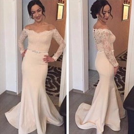 Off The Shoulder Lace Long Sleeve Mermaid Prom Dress With Sheer Back
