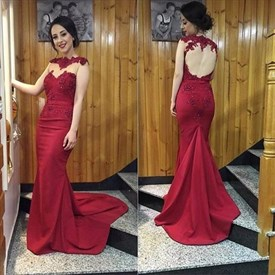 Burgundy Illusion Embellished Bodice Open-Back Mermaid Evening Gown