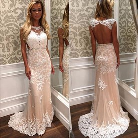 Champagne Backless Beaded Lace Long Prom Dress With Sheer Overlay
