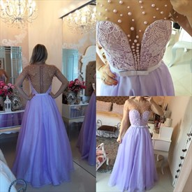 Lavender Sheer Backless Beaded Embellished Cap Sleeve Long Prom Gown