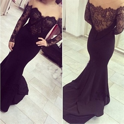 Black Lace Embellished Off The Shoulder Mermaid Gown With Long Sleeve