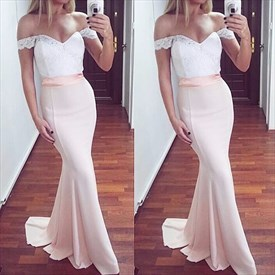 Blush Pink Off The Shoulder Lace Bodice Long Mermaid Prom Dress