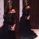 Black Off The Shoulder Long Evening Dress With Lace Sleeves