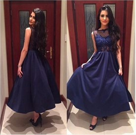 Navy Blue Floor Length Sleeveless Prom Dress With Lace Bodice