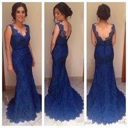 Royal Blue V-Neck Sleeveless Backless Mermaid Lace Bridal Gown