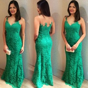 Green Sleeveless Mermaid Floor Length Prom Dress With Illusion Neck