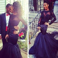 Black Sheer Lace Neck Embellished Long Sleeve Mermaid Prom Dress