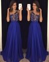 Royal Blue One Shoulder Lace Bodice Embellished Chiffon Prom Dress